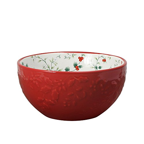 - Pfaltzgraff Winterberry Red Embossed Soup Cereal Bowl, 27-Ounce
