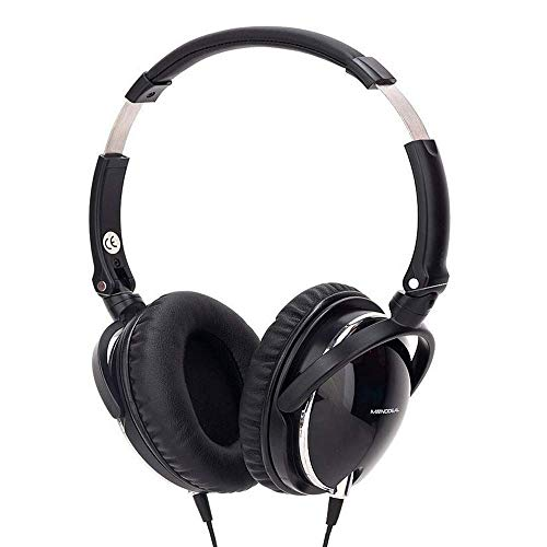 Active Noise Cancelling Headphones with Mic, MonoDeal Over Ear Strong Bass Earphones, Folding and Lightweight Travel Headset with Carrying Case - Black by MonoDeal