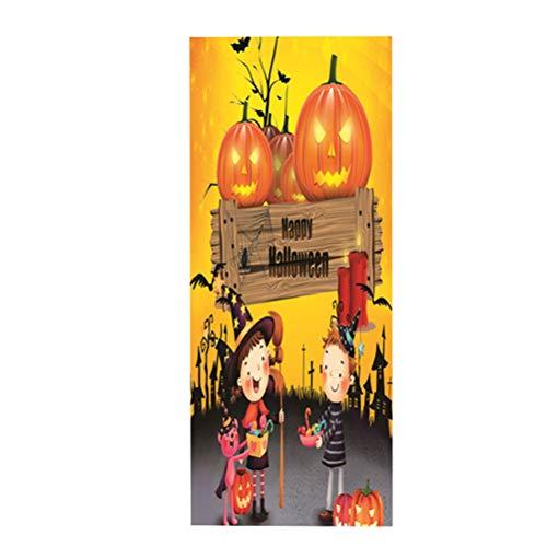 VORCOOL Halloween Door Sticker Kid and Pumpkin Self Adhesive PVC Waterproof Removable Door Wall Mural Wallpaper for Halloween Decoration Party Supplies