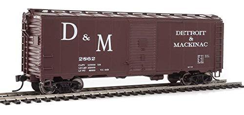 40' AAR MODIFIED 1937 BOXCAR - READY TO RUN -- DETROIT & MACKINAC 2862 (BOXCAR RED, WHITE, LARGE D&M) (Modified 40' Aar Boxcar)