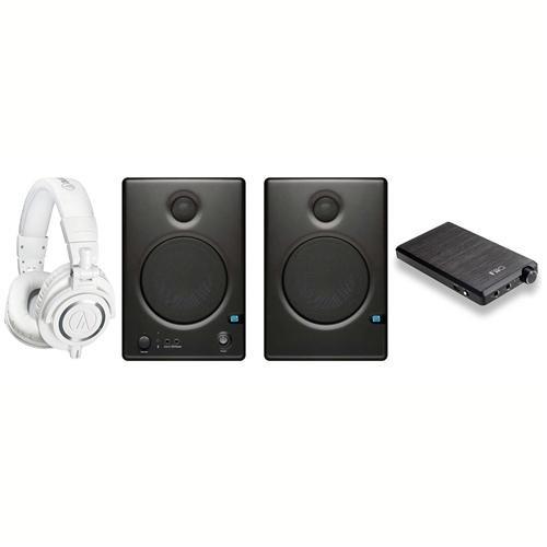 "Audio-Technica ATH-M50x Professional Monitor Headphones, White - Bundle With Fiio E12 Mont Blanc Headphone Amplifier, PreSonus Ceres C4.5BT Two-Way 4.5"" Powered Studio Speaker with Bluetooth, Pair"