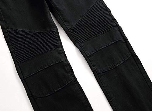 Semplice Denier Da Dritti A Jeans Vita Stretch Moto Moda Di Denim Nero Casual Media Stile Uomo wHqfpqxT
