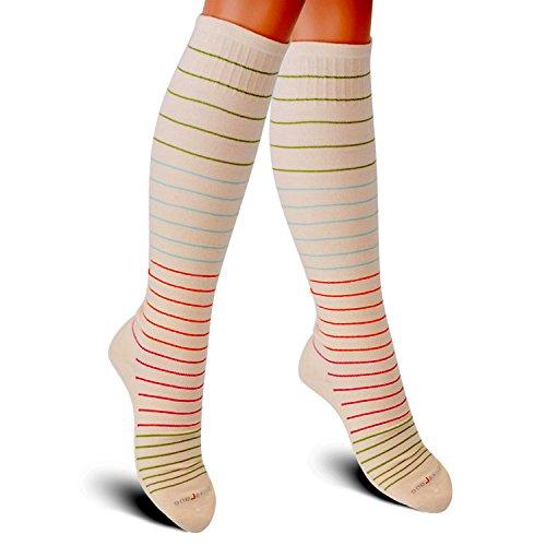 SocksLane Cotton Compression Socks for Women. Graduated Stockings for Nurses, Maternity, Travel, Flight, Pregnancy, Varicose Veins, Calf Support. 15-20 mmHg Medical Circulation Hose. Knee High 1 Pair