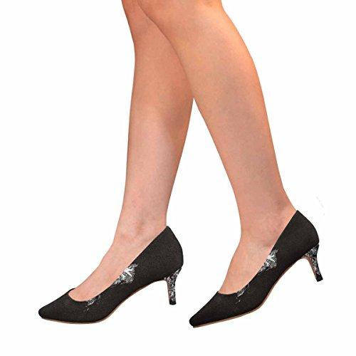 Interestprint Mujeres Low Kitten Talón Punta Estrecha Vestido Pump Zapatos Mapa Del Mundo Hecho De InstruHombrestos Musicales Icono Multi 1