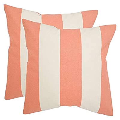Safavieh Pillows Collection Sally Decorative Pillow, 22-Inch, Peach, Set of 2 -  - living-room-soft-furnishings, living-room, decorative-pillows - 412mSYbUyHL. SS400  -