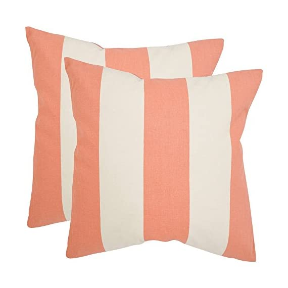 Safavieh Pillows Collection Sally Decorative Pillow, 22-Inch, Peach, Set of 2 -  - living-room-soft-furnishings, living-room, decorative-pillows - 412mSYbUyHL. SS570  -