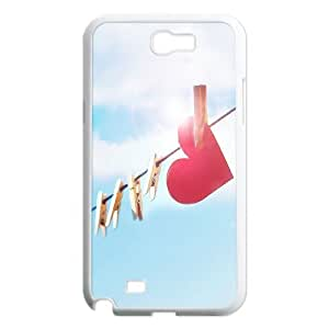 Samsung Galaxy Note 2 Case Clipped Paper Heart, Samsung Galaxy Note 2 Case Heart & Love, [White]