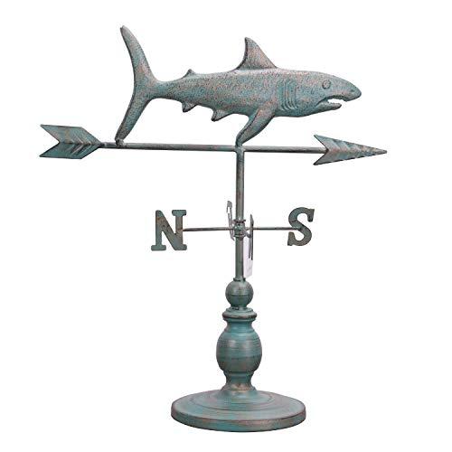 (Kleanner Antique Shark Weathervane Desk Decor, Decorative Metal Table Centerpiece with Stable Base, Unique Desk Ornament for Home, Dorm, Garden, Christmas, Party )
