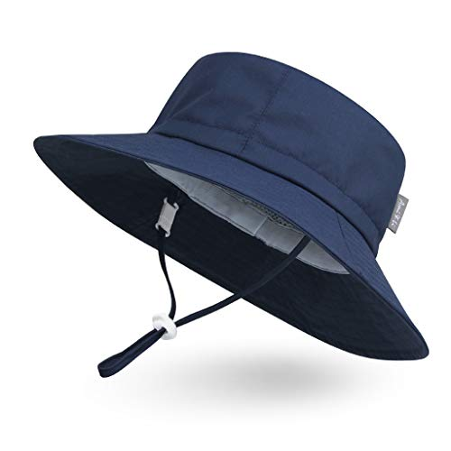 Ami&Li tots Adjustable Outdoor Sun Hat Water-Proof Bucket Boonie Fishing Cap for Baby Toddler Kids UPF 50 - M: Navy