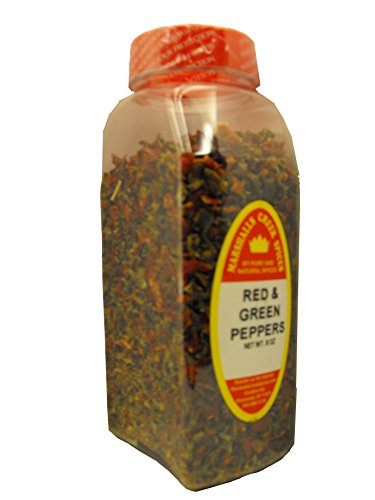 Green Sweet Peppers (RED & GREEN SWEET BELL PEPPER FLAKES FRESHLY PACKED IN XLARGE JARS, 8 OZ,spices, herbs, seasonings)