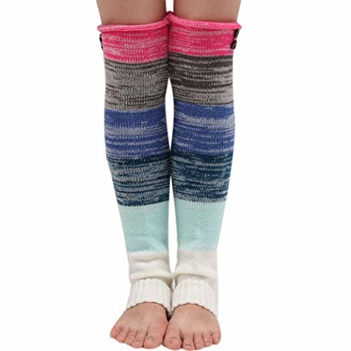 Voberry Women Knitted Trim Button Boot Cover Leg Warmers Sock (Hot Pink) Button Trim Boot