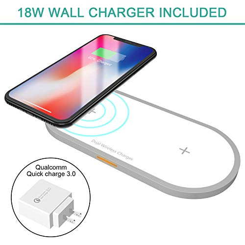 Dual Wireless Charger Fast Charging Station, Hometall 18W Dual Wireless Charging Pad with Cable & Qualcomm 3.0 Quick Charge Wall Adapter,Certified Qi Wireless Charger for iPhone AirPods Samsung(White)