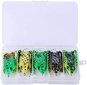 """5 PCS Large Frog Topwater Soft Fishing Frogs Lure Bait Bass 1//2 oz 2-3//8/"""""""