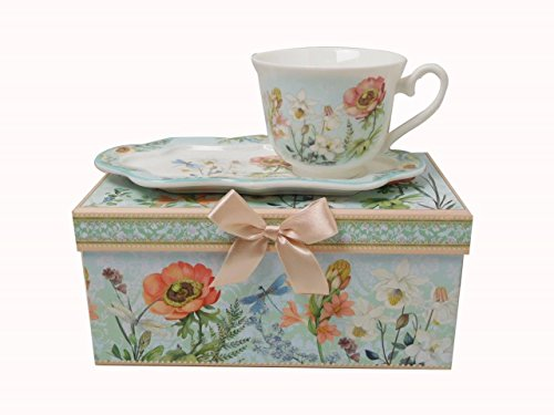 Lightahead New Bone China Unique Tea/Coffee Cup 10 oz and Snack Saucer Set in a Reusable Handmade Gift Box with Ribbon elegant floral design in attractive gift box (Best Bone China Tea Set)