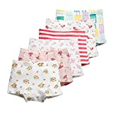 Aschic Little Girl's Boyshort Panties Baby Series 6-Pack Assorted Undies Kid's Cotton Underwear (Multi 1, 4-5 Years)