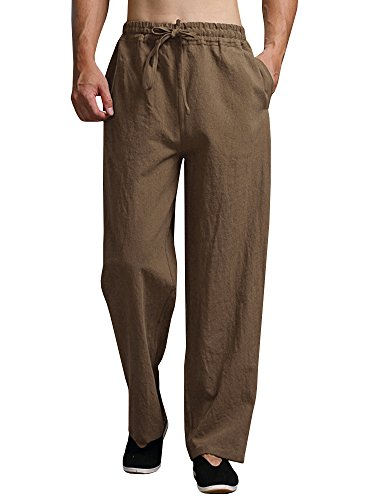 - Karlywindow Mens Cotton Linen Casual Pants Elastic Waist Loose Fit Trousers Cargo Beach Pant Brown
