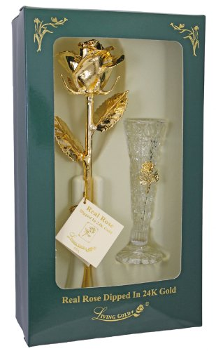 """Real Rose Dipped in 24k Gold w/Crystal Vase - Venus Rose (Open Bud) - Real 12"""" Rose by Living Gold Fully Plated in 24k Gold 6"""" Genuine Crystal Vase with tiny gold-plated metal rose - vases, kitchen-dining-room-decor, kitchen-dining-room - 412mUfUU62L -"""
