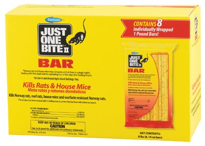 Farnam Home & Garden 100504295 Just One Bite II Rat & Mouse Killer, Bars, 8-Ct. - Quantity 4