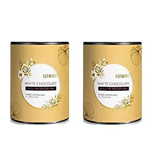 ESTAVITO White Chocolate Wax 800ml For Hair & Tan Removal |PACK OF 2 | GET FREE 85 Pcs of ADORN WAX STRIPS | (For Arms…