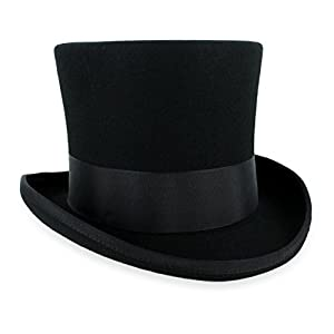 Belfry John Bull Theater-Quality Men's100% Wool Felt Top Hat in Black Large