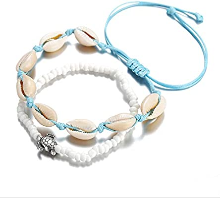 Valentines Day Mutong Turtle Shell Anklets、Hand Bracelet Set Woven Foot、Hand Chain Beach Jewelry for Women and Girl