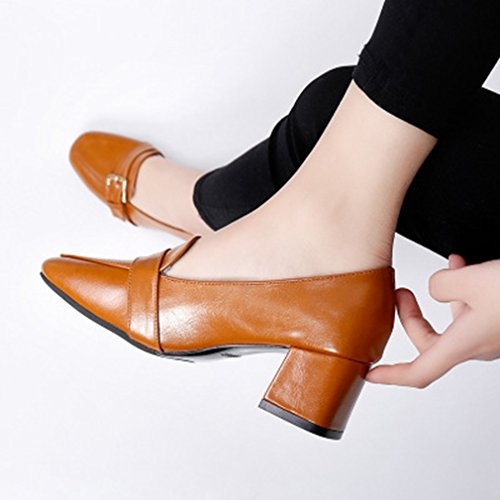 Giy Kvinna Klassisk Fyrkantig Tå Pumpar Loafers Komfort Slip-on Spänne Blocket Hälen Tillfällig Klänning Dagdrivaren Skor Solbränna