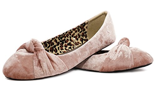 Ballet Mauve Front Toe Knotted Canvas Round Crushed Womens Velvet Flats Albert Charles qFwpzx0Ht