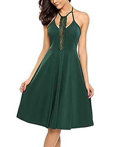 ANGVNS Women's Rockabilly 50s Vintage Halter Cocktail Midi Lace Dress Dark Green XL - Holiday Stretch Lace Dress
