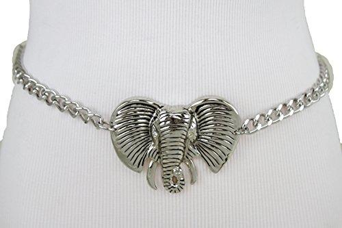 Link Belt Silver Tone Chain (TFJ Women Belt Silver Metal Chain Links Hip High Waist Elephant Buckle Plus M L XL)