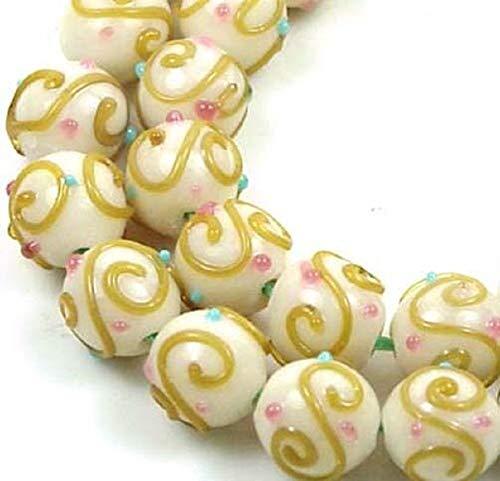 12mm Lampwork Handmade Beads Amber Scrolls Round (8) ~ Al Aguz
