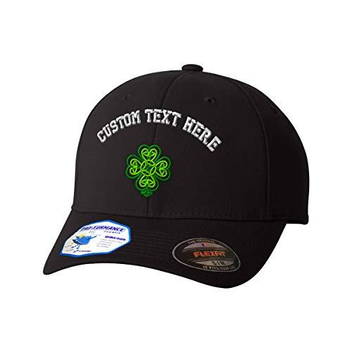 (Custom Flexfit Baseball Cap Celtic Shamrock Symbole Embroidery Design Polyester Hat Elastic Black Large/X Large Personalized Text Here)