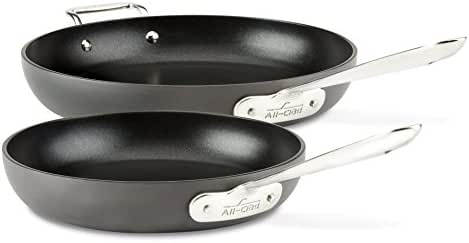 All-Clad E7859064 HA1 Hard Anodized Nonstick Fry Pan Cookware Set, 10 inch and 12 inch Fry Pan, 2 Piece, Black