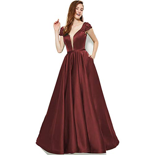 SZMX Burgundy Cap Sleeve V-Neck Prom Evening Gowns with Pockets Beaded Satin Long Formal Party Dresses for Women