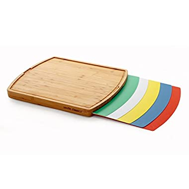 Seville Classics Bamboo Cutting Board with 5 Removable Cutting Mats
