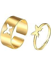 Elepcute Ring, creatieve ringen paar ringen vlinderring voor vrouwen mannen, koppels bijpassende beste vriend trendy belofte ringen set, geliefde trouwring jubileum cadeau