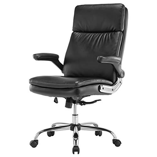 KERMS High Back Bonded Leather Executive Office Chair, Adjustable Recline Locking Flip-up Arms Computer Desk Chair, Thick Padding and Ergonomic Design for Lumbar Support Black