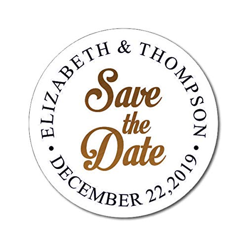 Darling Souvenir Round Calligraphy Save The Date Stickers Wedding Personalized Bride Groom Names and Date Envelope Seals 45 -
