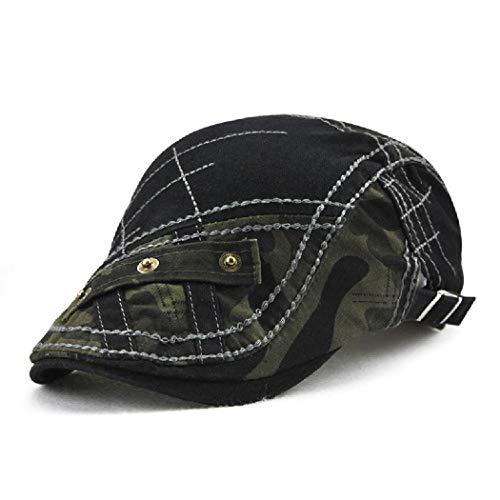 Cab Driver Hats - FayTop Men's Cotton Flat Cap newsboy IVY Irish Cabbie Scally Cap Cabbie Driving Caps Hats E90-black