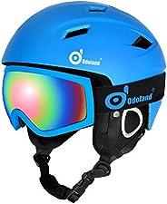 Odoland Snow Ski Helmet and Goggles Set, Sports Helmet and Protective Glasses - Shockproof/Windproof Protectiv