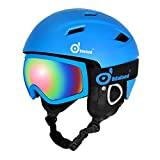 Odoland Ski Helmet with Ski Goggles, Multi-Options Snowboard Helmet and Goggles Set for Men Women Youth and Kids, ASTM Safety Certificated, Blue, Small