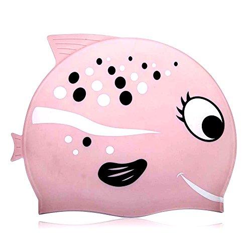 Bonnet de bain Design Fun en silicone Bonnet de bain pour enfants-Dessin animé Pattern (Rose, Standard)