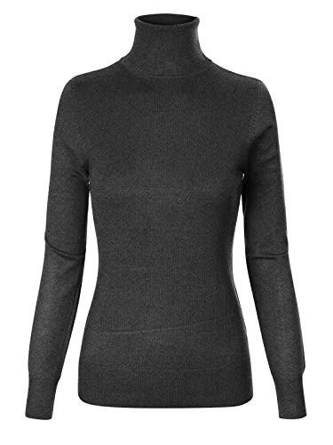 (Instar Mode Women's Basic Stretch Knit Long Sleeve Soft Turtle Neck Top Pullover Sweater Charcoal L)