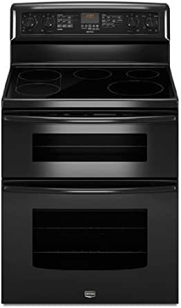 """Maytag MET8775XB Gemini 30"""" Black Electric Smoothtop Double Oven Range - Convection"""