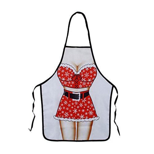 Funny Aprons - Men Aprons Cooking Kitchen BBQ Aprons, Adult Sexy Apron BEST Halloween Cosplay Party Costume Christmas Gift (Christmas Girl) -