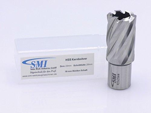 HSS Kernbohrer 23 mm Drm. Schnitttiefe 25 mm Aufnahme 19 mm Weldonschaft
