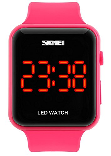 Gosasa Unisex Men's Women Simple Design Square Dial Rubber Band Digital LED Wrist Watch (Pink)