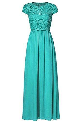Chiffon Vintage Evening Gown - Ssyiz Custom Tiffany Women's Vintage Floral Lace Cap Sleeve Long Chiffon Bridesmaid Evening Dress
