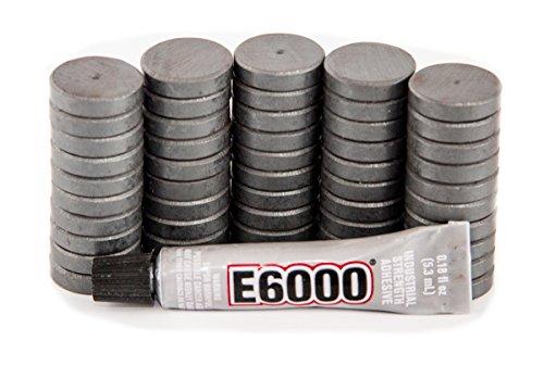 Tuff Magnets, 50 Magnets With 1 E6000 - Clear .18oz Glue, Ferrite, Fridge, Craft, Hobby, School, Round Disc, 3/4 inch