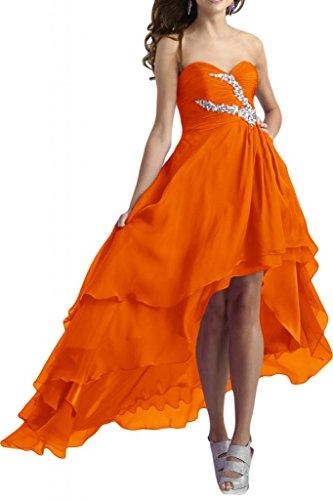 TOSKANA BRAUT Modisch Herzform Chiffon hi-Lo Abendkleider Lang Brautjungfern Fest Party Ballkleider naranja
