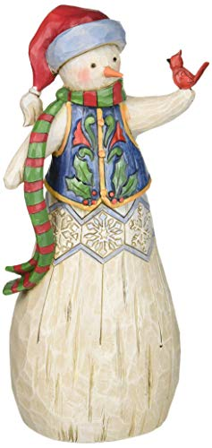 Enesco 6001445 Department 56 Jim Shore Folklore Snowman With Cardinal Figurine, 10.5 , Multicolor
